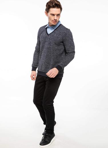 DeFacto Gömlek Yakalı Sweatshirt Mavi